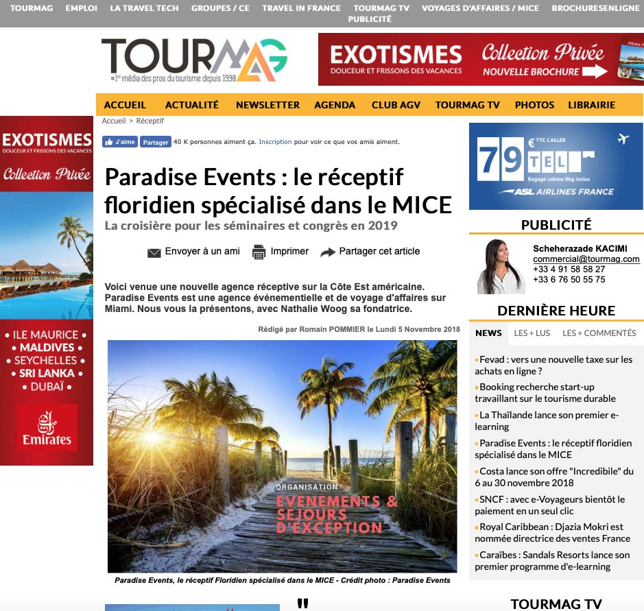 Magazine Tourmag.com - Article sur Paradise Events